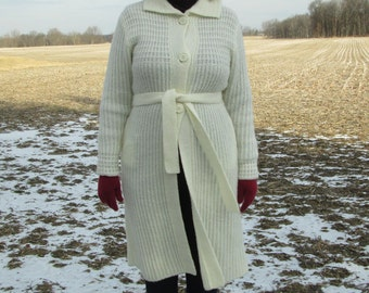 Long Ivory Wool Blend Sweater, Size S / M, Sweater Coat