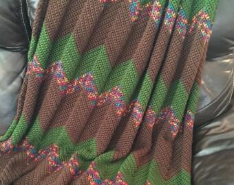 Brown crochet throw