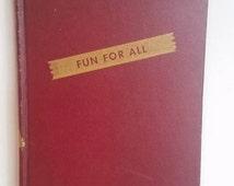 Fun for All, 1940s Joke Book, Red Hardcover Humor Comic Cartoons Funny Writing Gift Anecdotes Atomic Era George McManus