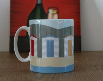 Coffee/Tea Mug With Colourful Beach Hut Print, Seaside Beach Huts Print, Beach Huts Printed Mug, Beach Huts print, Seaside Huts Print.