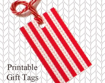 Red Stripe Knitted Gift Tags / Printable Knitting Gift Tags / Red Stripe Knitted Gift Tags / Christmas Gift Tags / Knitter Scrapbook Tags /