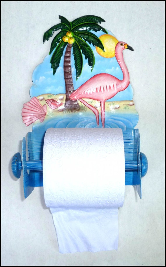 Toilet Paper Holder Painted Metal Art Flamingo Bathroom