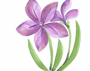 Original hand painted greeting card. Not a print. 5 x 7  Bold purple flowers.