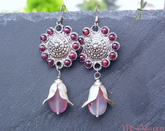Maxi Flower Earrings - Pink Garnet Agate Romantic Boho Reign