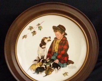 Norman Rockwell Collector Plate - Gorham Fine China - 1971 Limited Edition - Fall - with Vintage Bard Wood Frame