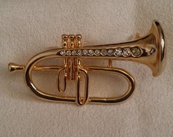 Trumpet Brooch (Pin) with Rhinestones
