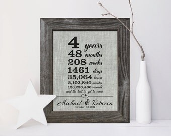 4th Wedding Anniversary Linen gift print , 4 Years Together, fourth anniversary gift for husband wife, date days hours minutes - LA0106