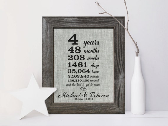 Linen Wedding Anniversary Gifts: 4th Wedding Anniversary Linen Gift Print 4 Years Together