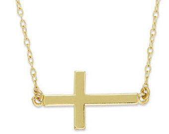 14k Solid gold, Sideways Cross necklace, Celebrity Style Simple Cross necklace