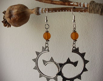 Creole spiral fractal earrings