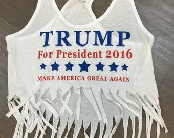 Trump Girl Fringe Shredded Tank USA Flag Fashion Campaign Racer Back White Top