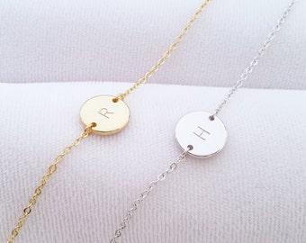 Custom Initial Bracelet, Initial Bracelet, Personalized Disc Bracelet, Initial Charm, Letter Bracelet, Bridesmaid gift