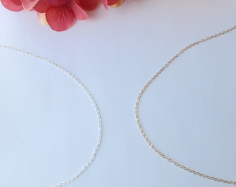 Thin Plain Cable 14K Gold Filled Chain, Sterling Silver Chain.