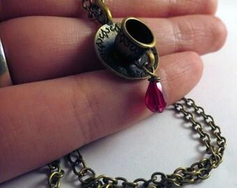 Teacup Necklace, Pendant Necklace, Tea Necklace, Vintage Necklace, Quaint Necklace, Antique Necklace, Wonderland Necklace, Long Necklace