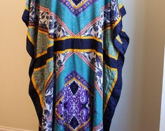 Vintage Colorful Kaftan Maxi Dress