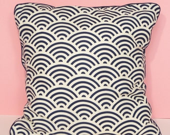 Cushion cover - Japanese fabric with geometric printed blue & white