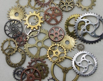 Lot of 25 Steampunk Metal Gears. Steampunk Findings for Jewelry or Costume, Cogs, Sprockets, Clockwork. Steam Punk Cosplay Clock Gear Pieces