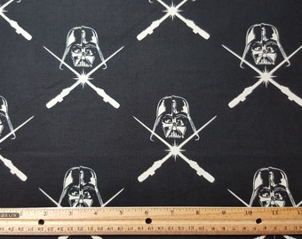 GLOW in the DARK Darth Vader Fabric, Star Wars Fabric, by the yard or Fat Quarter, FQ, Hard to Find Fabric, Glow in the Dark Star Wars