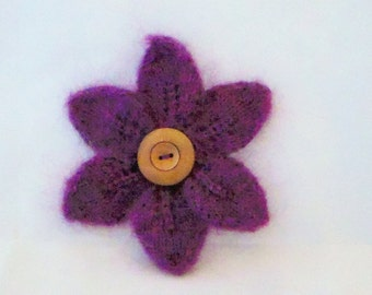 PIN flower with six petals knitted wool angora and wooden button