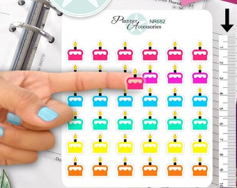 Clear Birthday Sticker Cake Stickers Present Stickers Planner Stickers Erin Condren Functional Stickers Decorative Stickers NR682