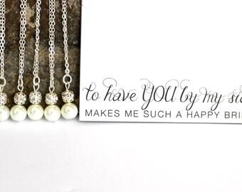 set of 6 bridesmaid necklaces / pearl bridesmaid necklaces / bridesmaid gifts / gift for bridesmaids / bridal party jewelry