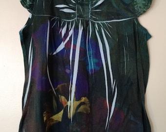 Dark Babydoll Tunic with Flower Design
