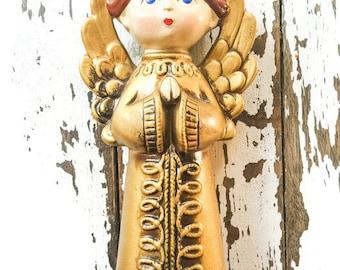 Vintage 1960's Angel Praying Christmas Gold YU0021