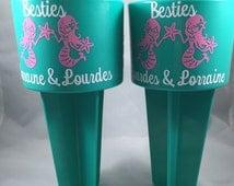 "Mermaid ""Besties"" Best Friends Beach Sand Spiker Pink and Aqua"