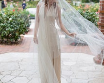"Wedding veil, glamorous cathedral bridal drop veil with 280+ Swarovski rhinestones scattered throughout ""Olivia"""