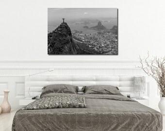 Large Canvas or Print, Landscape photography, Rio de Janeiro, Christ the Redeemer, Corcovado Brazil, Aerial Photo, Black & White Harbor