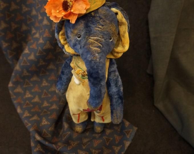 Elephant stuffed animal - plush elephant - OOAK art elephan, OOAK artist Teddy Elephant