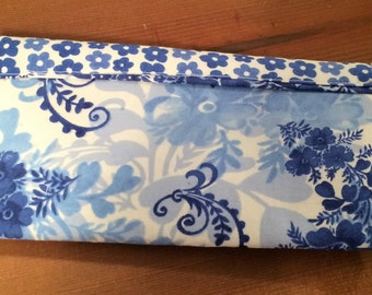 Small Blue Print Cosmetic Bag