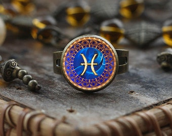 Pisces Zodiac ring, Pisces ring, Pisces Zodiac Jewelry, Pisces constellation ring, Pisces Zodiac Sign ring, Astrology ring