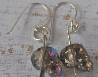Head on a stake earrings - Swarovski skull beads with sterling silver filled findings