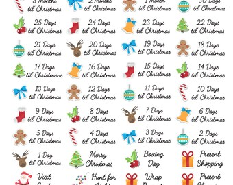 40 x Christmas Season Countdown Bucket List Stickers Planner Diary Calendar