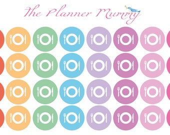 34 x Dinner Meal Planner Food Reminder Planner Stickers Organiser Diary
