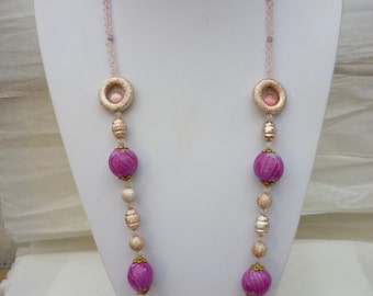 Necklace with pink fuchsia polymer beads  with delicate silver lines