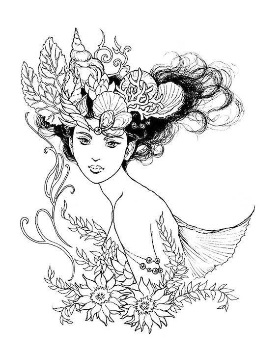 Nereid Mermaid Queen Portrait Ink Drawing Coloring Page