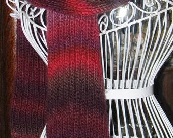 Variegated Red Brioche Scarf