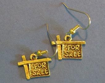 Realtor House for Sale Sign Earrings 24 Karat Gold Plate Realtor Gift Home Broker Real estate Broker EG499