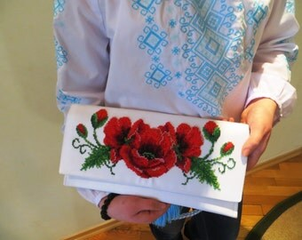 "Beads Embroidered Stylish Clutch Bag ""Poppies"""