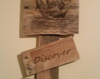 "Reclaimed Wood Wall Art - ""Discover A New World"""