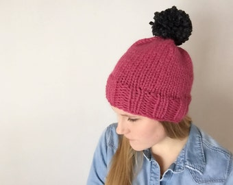 Classic Pom Knitted Hat in Raspberry with Charcoal Pom