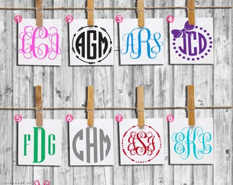 Monogram Decal-Adhesive Decal-Vinyl Decal-Vinyl Monogram-Fancy Circle Monogram-Car Decal-Windshield Decal-Monogram Car Decal-Rear Windshield