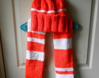 Flame Orange/White Knit Scarf & Hat Set