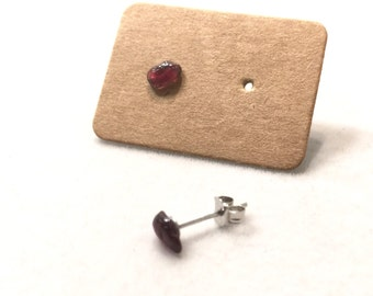 Tiny Garnet Studs Earrings, Rough, Raw Stone, Sterling Silver, 925