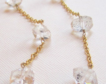 Herkimer diamond necklace-herkimer quartz and 14k gold filled chain necklace