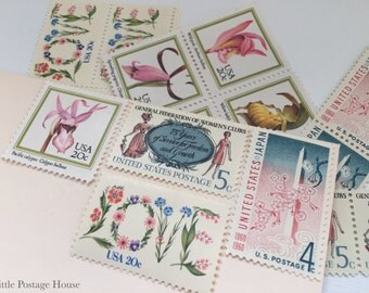 Floral Pink | Vintage Unused Postage Stamps | For 5 Letters | 49 Cents