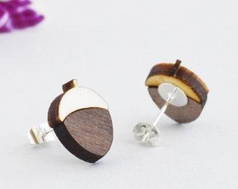 Acorn earrings, wood stud earrings, Laser Cut acorn Wood Earrings Wood Earrings MF Lasercut Jewellery Gift