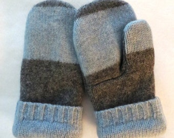 Mittens made from felted wool an cashmere